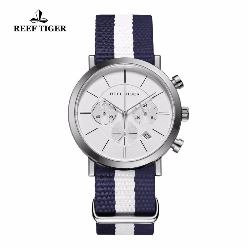 Reef Tiger/RT Fashion Casual Watches Chronograph Stainless Steel Nylon Strap Military Watch for Men RGA162