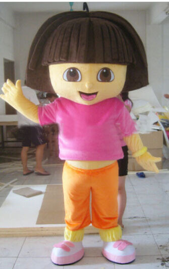 2015 new free shipping 100 real images adult 3d dora mascot costume fancy dress suit halloween outfit - Swiper Halloween Costume