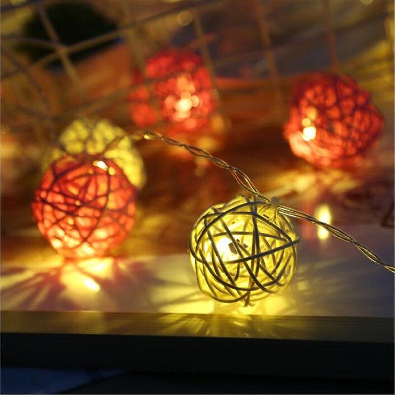 Thai Style 28Pcs/Lot LED Rattan Ball String Light Orange White Fairy Strip for Child Bedroom Wedding Christmas Decor US/EU Plug