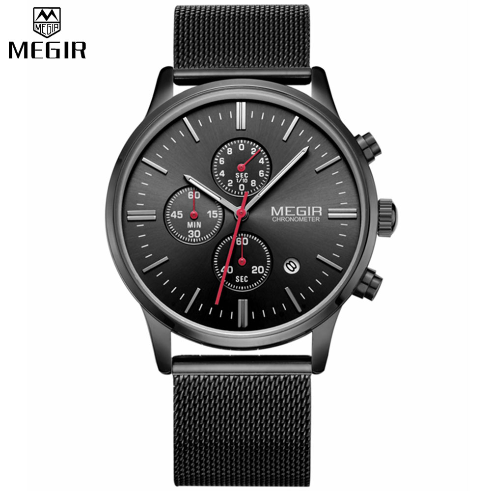 Prix pour Megir Marque Hommes de simple Mode sport CHRONOGRAPHE chronomètre robe quartz montre hommes en acier maille bracelet band quartz-montre horloge
