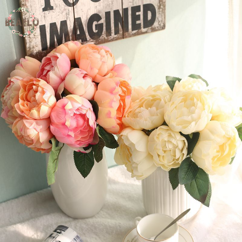 1 փունջ արհեստական ծաղիկներ Դամասկոսի ասպետը կլոր վարդի մետաքսե ծաղկեփնջեր հարսնացուի հարսանիքի համար