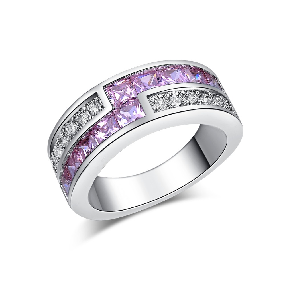 beautifully luxurious purple silver plated aaa cz wedding ring for womens birthday gift party accessories msr163 - Beautiful Wedding Ring