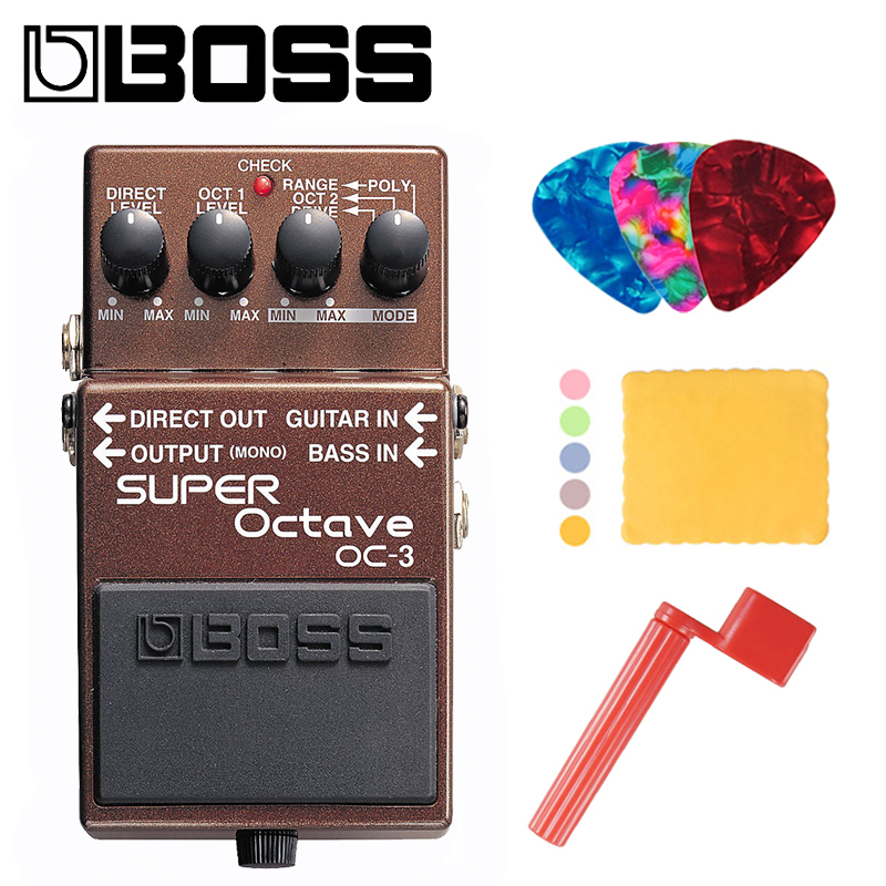 Boss OC-3 Dual Super Octave Pedal for Guitar/Bass with Built-In Overdrive Bundle with Picks, Polishing Cloth and Strings Winder plastic guitar bass picks 24 piece color assorted