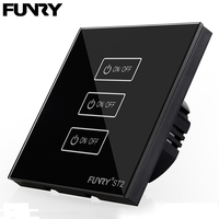 EU Standard FUNRY ST2 Touch Switch 3 Gang 1 Way Crystal Glass Plate Sensor Switch Home