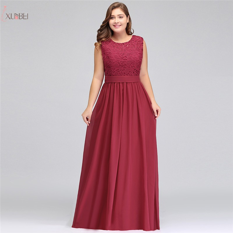 Sexy Elegant Burgundy Pink Chiffon Long   Prom     Dresses   2019 Plus Size Lace Applique   Prom   Gown Gala   Dress