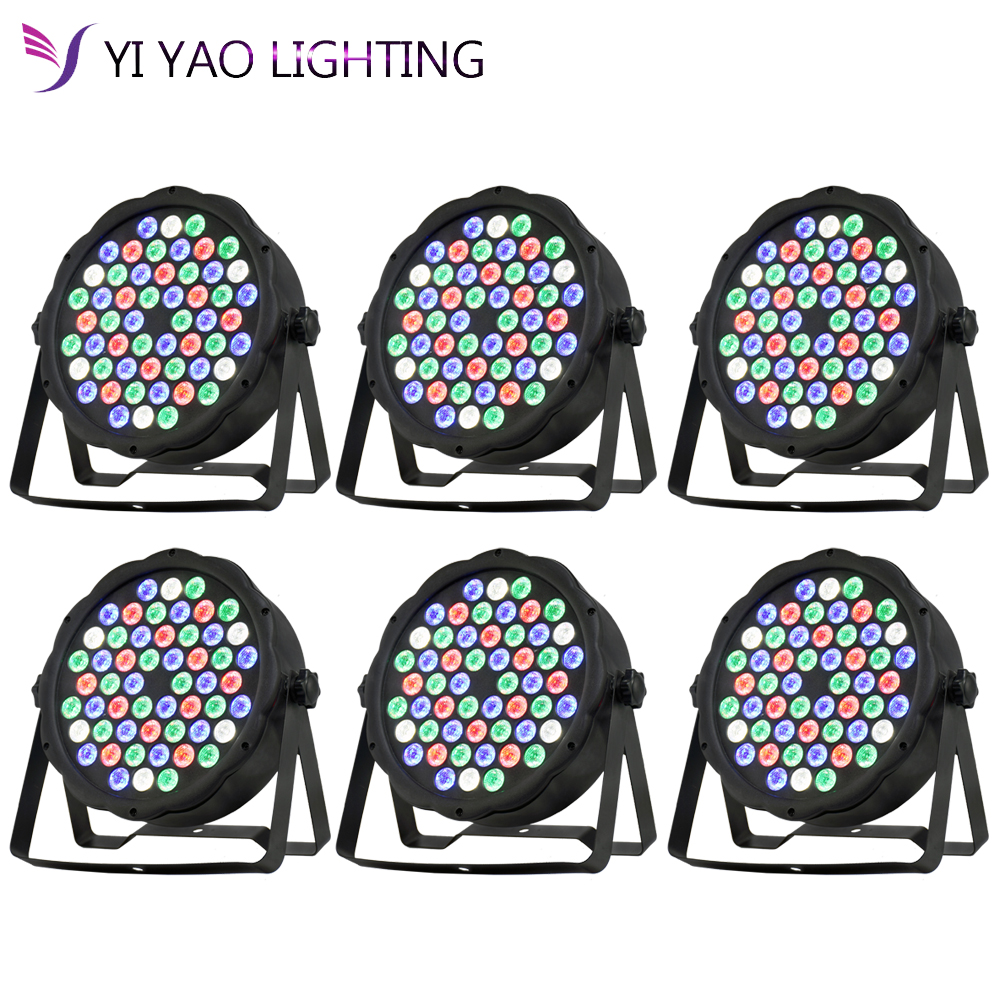6pcs/lot 54 * 3W Dyed Plastic Flat LED Par RGBW Wash Wedding Decorative DJ Stage Lighting