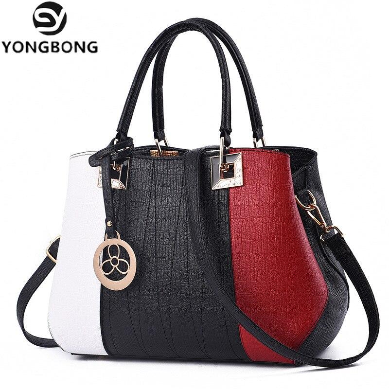 YONGBONG Fashion Women Brand New Design Handbag Black White Stripe Tote Bag Female Shoulder Patchwork Bags