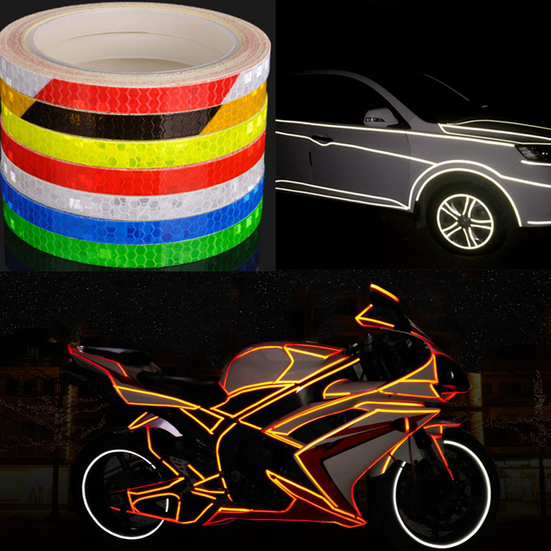 8m*1cm Colorful Reflective Stickers Strip For Car Motorcycle Bike Fluorescent Reflector Safety Warning Rim Tape