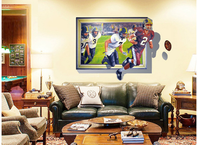 3D Soccer Game Wall Stickers Guest Room Self Adhesive Removable Wallpaper Painting Poster Bedroom Living