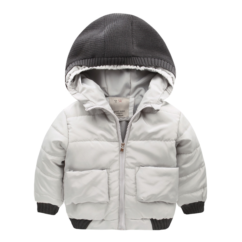 2016 new winter coat zipper Boy Hat padded jacket jacket kids children baby U5653