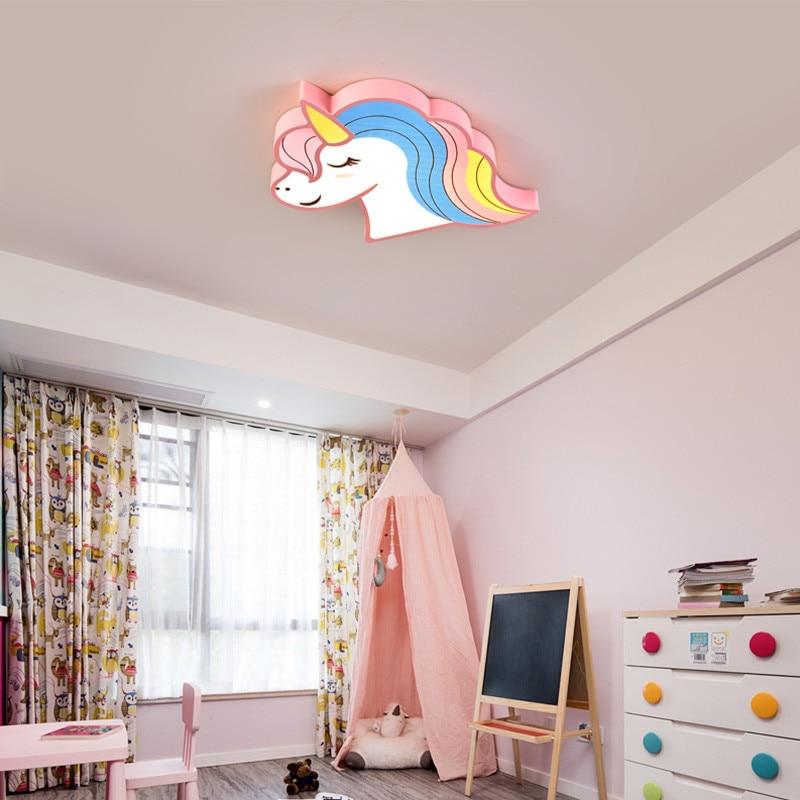 Led Light Girls Room Bedroom Boys Child Baby Kids Room Light Lamp Animal Unicorn Children Kids Ceiling Light With Remote Control in Ceiling Lights from Lights Lighting