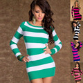 Europe sexy temptation sexy lingerie sexy tight long-sleeved striped  nightdress