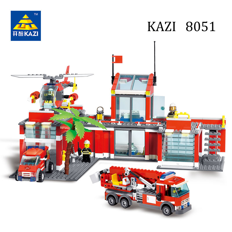 KAZI Fire Station Department Rescue Truck Car Helicopter Toy Vehicle Model Building Blocks Brinquedos Toys for Kids Brick
