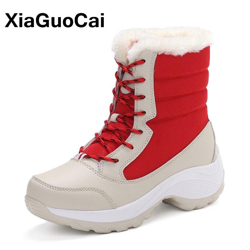XiaGuoCai Marque de Femmes Chaussures D'hiver Chaud Femmes Bottes Avec Fourrure haute Qualité Neige Bottes à Lacets Cheville Femelle Bottes Botas chaussures