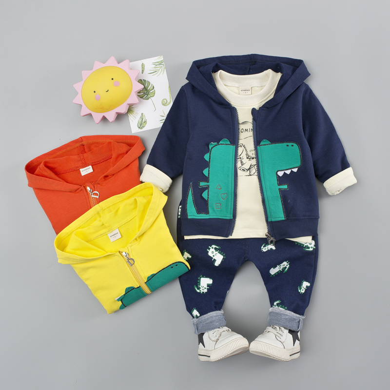 Toddler Baby Boy Girl Clothes Suit Ginosaur Cartoon Print 3pcs Long Sleeve Clothes Set For Kid Boy Spring Outfit 1 2 3 4 YearsClothing Sets   -