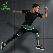 Men Long Sleeve Compression T-Shirt+Pants Set Running Tight Top Fitness Gym Base Layer Leggings 2 Pieces Suit
