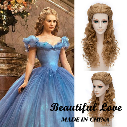 2015 New Movie Long Wavy Curly Blonde Princess Cinderella Wig Anime Cosplay Wigs For Adult