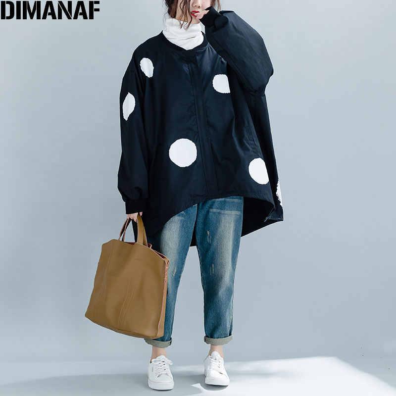 DIMANAF 2019 ใหม่ฤดูใบไม้ร่วงฤดูหนาวผู้หญิง Polka Dot แจ็คเก็ตสีดำขนาดใหญ่ซิป O - Neck เสื้อผ้าหญิงหลวมขนาดใหญ่เสื้อสเวตเตอร์ถัก