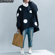 DIMANAF 2019 جديد الخريف الشتاء النساء البولكا نقطة سترة سوداء معطف مقاسات كبيرة سستة س الرقبة الإناث الملابس فضفاضة المتضخم سترة