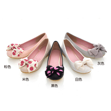 Free shipping 2014 spring and autumn female shoes flat heel shoes Moccasins bow round toe shoes flat shoes low-top