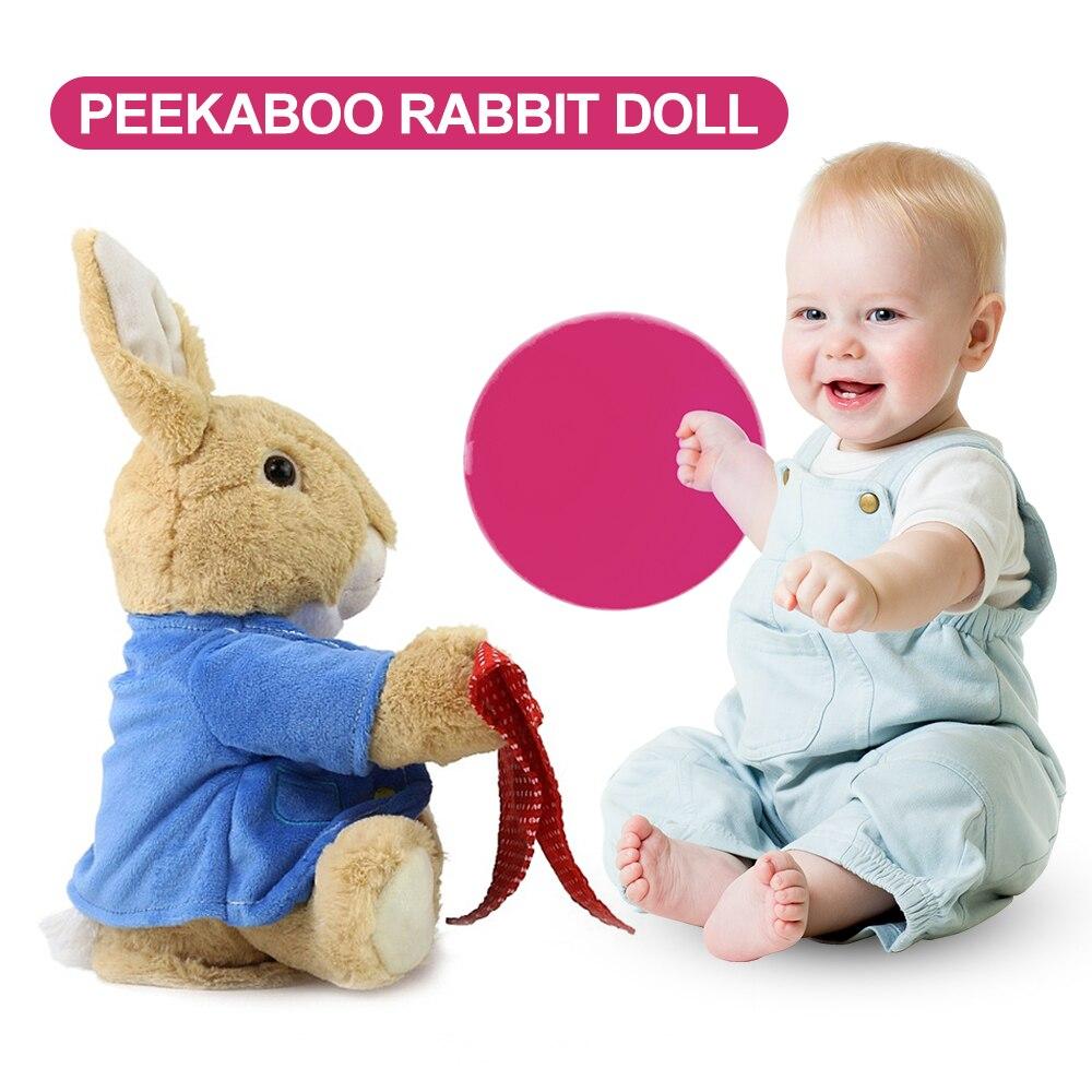 30 cm Peek a Boo Spielzeug Peter Kaninchen Verstecken Spielen Suchen Schöne Cartoon Gestopft Kinder Geburtstag Geschenk Niedlich Elektrische Musik kaninchen Plüsch Spielzeug