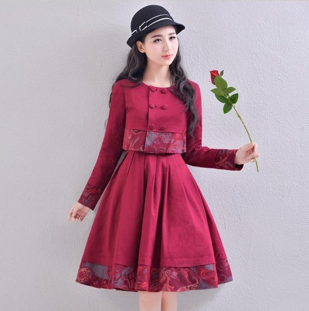 2016 New Fashion Vintage National Wind Red Women's Sets Long Sleeve Double Breasted Coat + Sleeveless Vest Dress Dress Suits