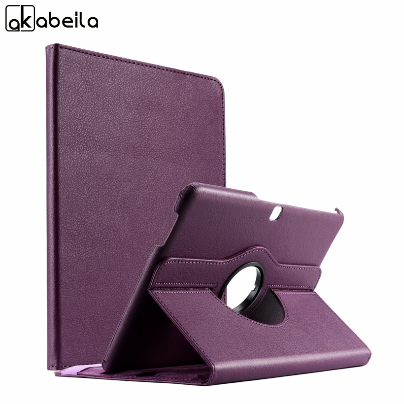AKABLEILA Litchi Pattern Flip Tablet PU Leather Cases For Samsung Galaxy Tab 4 10.1 inch LTE T530 Case 360 Rotating Stand Cover