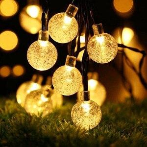 Image 2 - 5M 6.5M 7M 12M LED Solar Globe Bubble Ball String Lights 20/30/50/100LEDs Outdoor Waterproof Christmas Decor Ball Light String