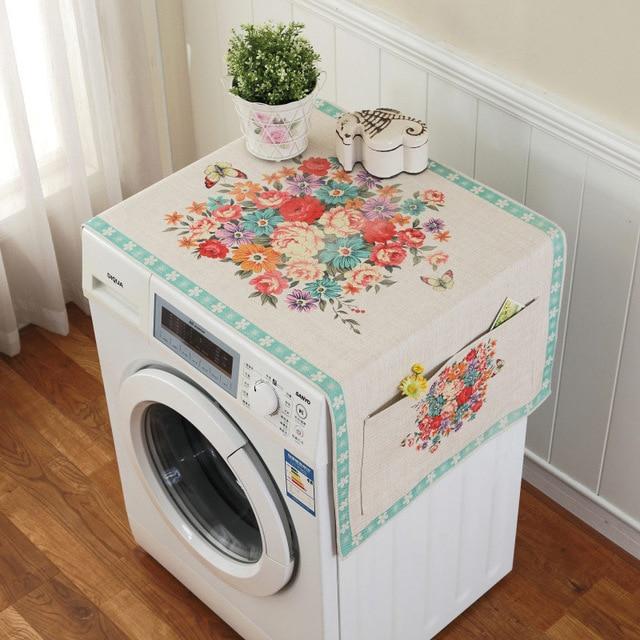 Ретро Европейский цветочный принт стиральная машина пылезащитный чехол для холодильника с карманом для хранения льняной ткани ремесло 1 шт./лот FC119 - Цвет: 2