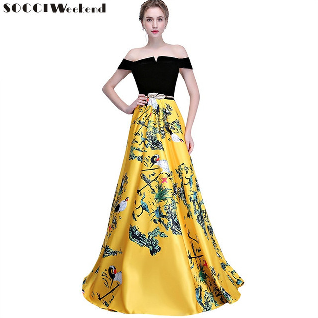 e39c5419329c8 US $60.61 42% OFF|SOCCI Weekend Yellow Flower Pattern Evening Dress 2019  Long Vintage Prom Party Dresses Women Formal Occasion Gowns Floor Length-in  ...