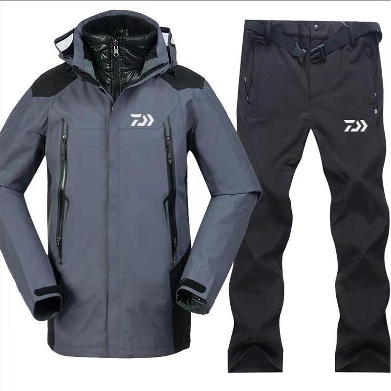 2018 New Dayiwa Men Fishing Clothes Sets Outdoors Sports Wear Set Hiking Windproof Clothing Fishing Jacket Pants in Fishing Clothings from Sports Entertainment