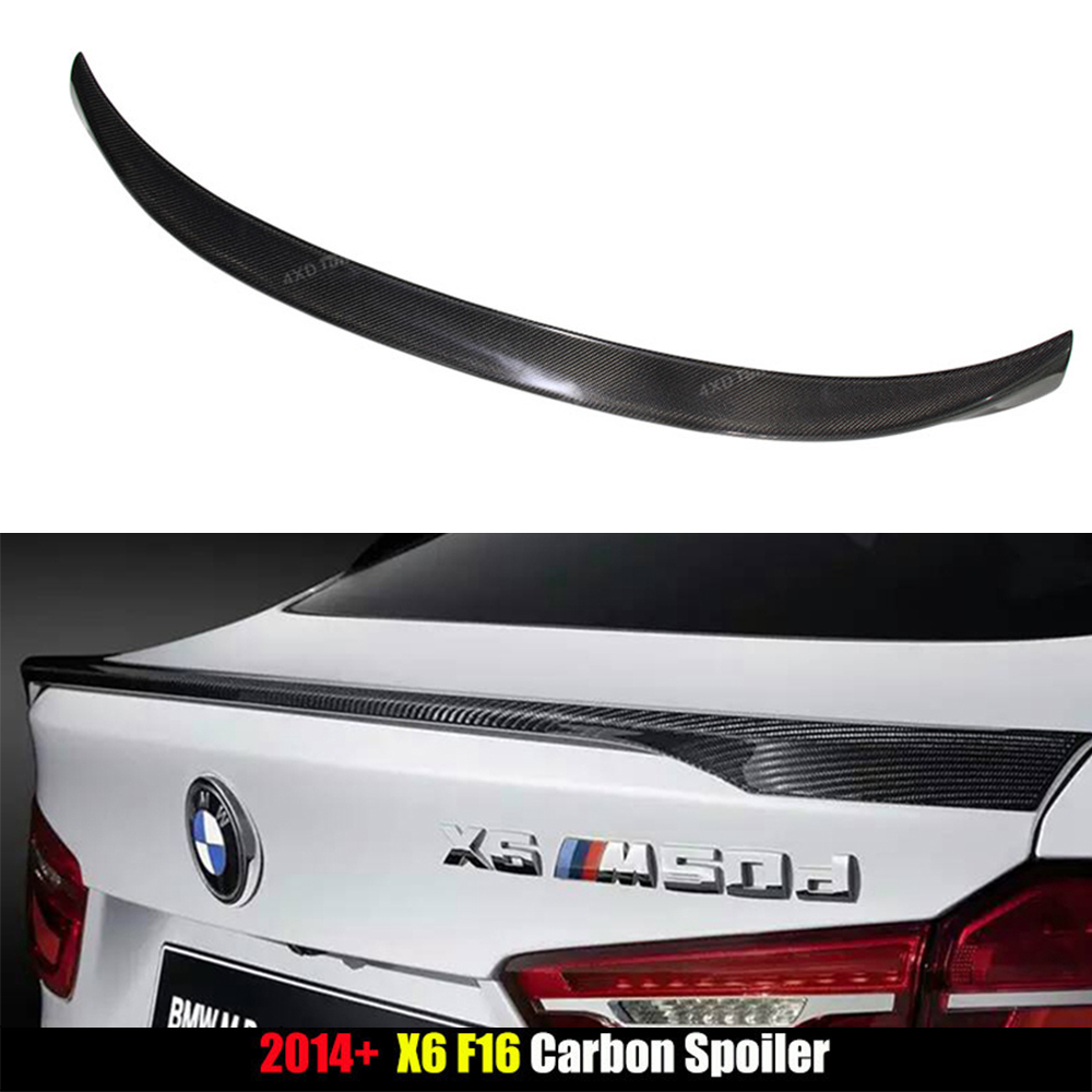 For BMW F16 Carbon Spoiler M Performance Style X6 F16 Spoiler X Series Carbon Fiber Rear Spoiler Trunk Wing 2014 2015 2016 - UP carbon fiber mirror rearview cover 2pcs for bmw x6 f16 2015
