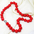 Fashion artificial red coral round 8,10,12,14mm charms beads women best charm necklace weddings gift jewelry 18inch B1510