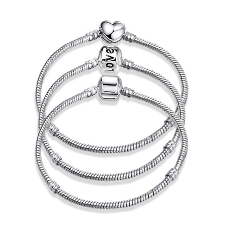 2020 New Original Charm Bracelet Rose Gold Silver Color Alloy Snake Chain Basic Bracelets For Fashion Women Beads DIY Jewelry(China)