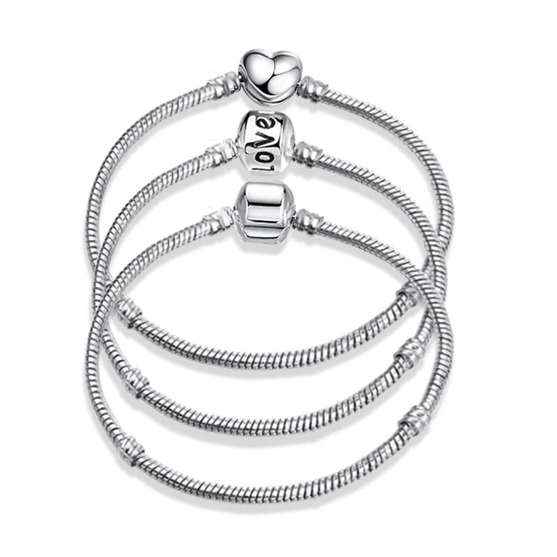 2020 New Original Charm Bracelet Rose Gold Silver Color Snake Chain Basic Bracelets For Fashion Women Beads DIY Jewelry(China)