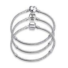 Nouveau Bracelet à breloques Original or Rose couleur argent alliage serpent chaîne Bracelets de base pour les femmes de mode perle bricolage bijoux livraison directe