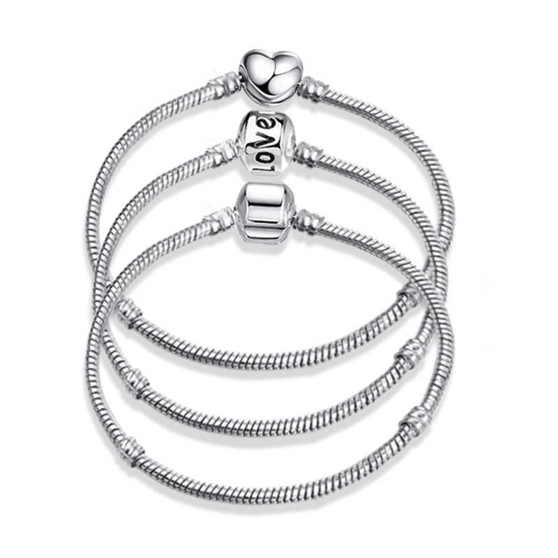 ใหม่ Silver Plated Charm สร้อยข้อมือ Rose Gold Snake Chain Fit Pan Basic สร้อยข้อมือแฟชั่นผู้หญิง Charms ลูกปัด DIY เครื่องประดับ