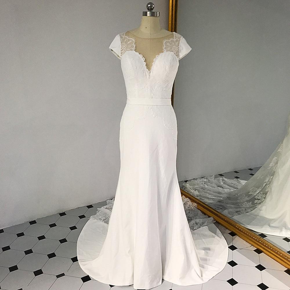 Cowl Neck Silk Sheath Wedding Gowns: RSW1430 Cap Sleeves Illusion Train And Neckline Sheath