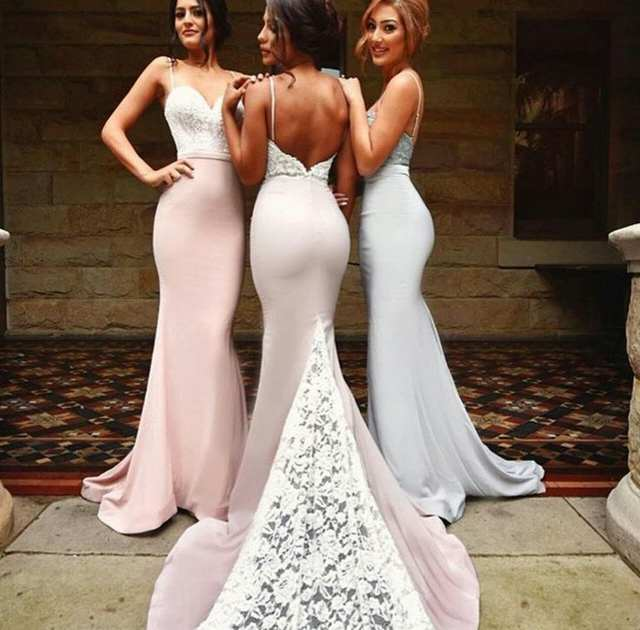 21cbf88554e05 Online Shop New 2019 Sexy Low Back Mermaid Lace Satin Bridesmaid Dresses  Long Spaghetti Straps Maids Honor Dresses Wedding Party Gowns