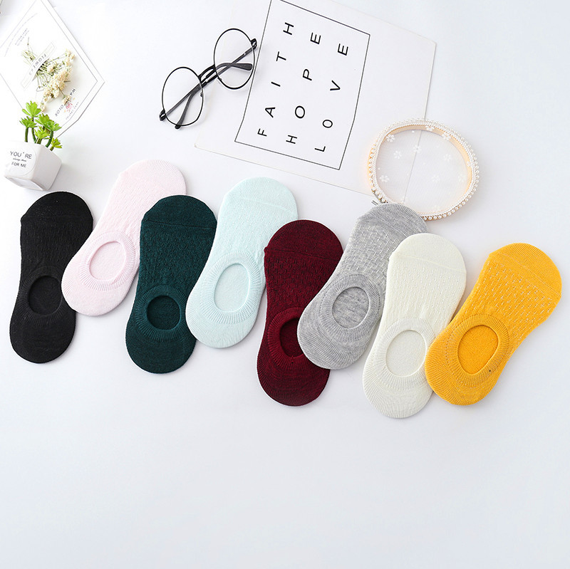 New non-slip stripes invisible socks ladies boat summer sweat-absorbent casual