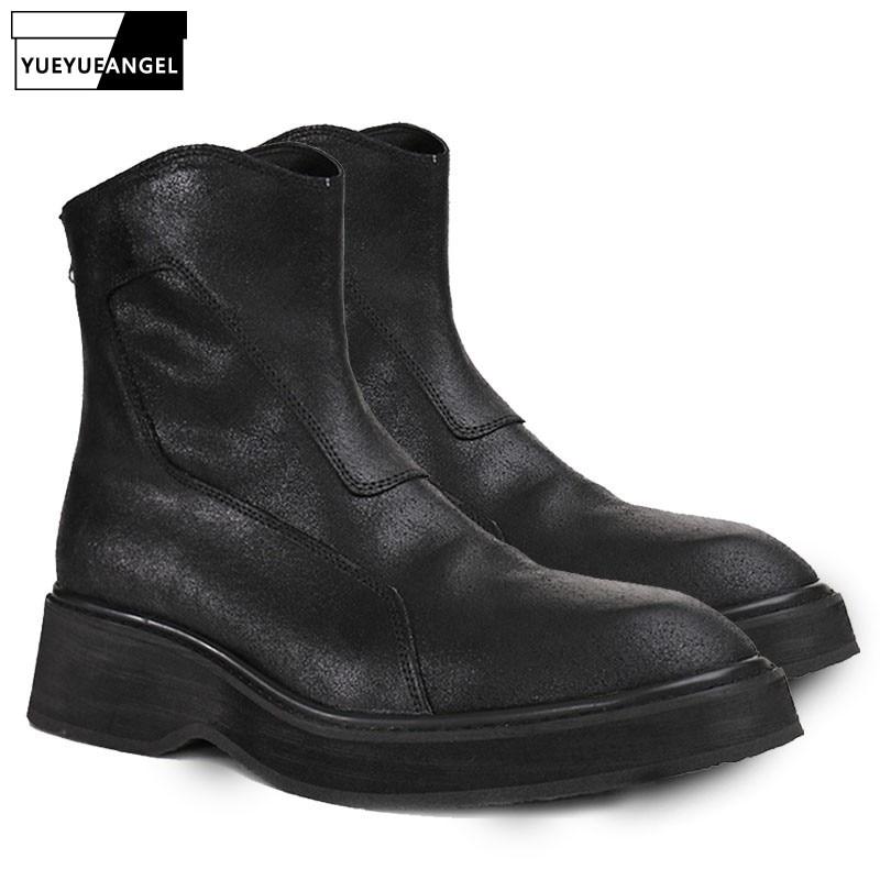 Итальянские мужские военные ботинки martin в стиле ретро, панк, из натуральной кожи, на толстой платформе, на молнии, в стиле рок, мужская обувь, ...