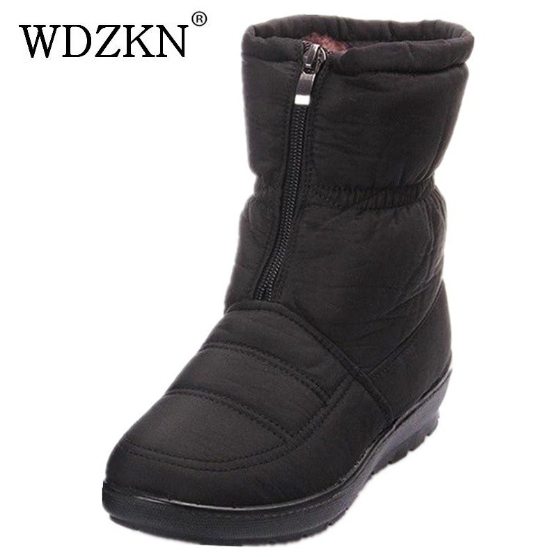 WDZKN 2017 Winter snow boots women's ankle boot flat slip-resistant thermal winter mother shoes women winter cotton boots