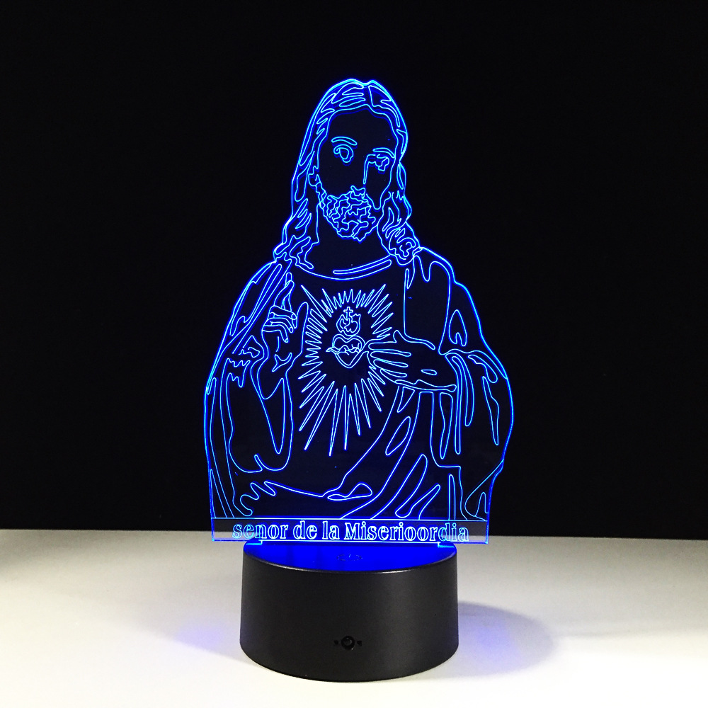 Jesus Christ 3d lamp led Color Changing Christmas lights