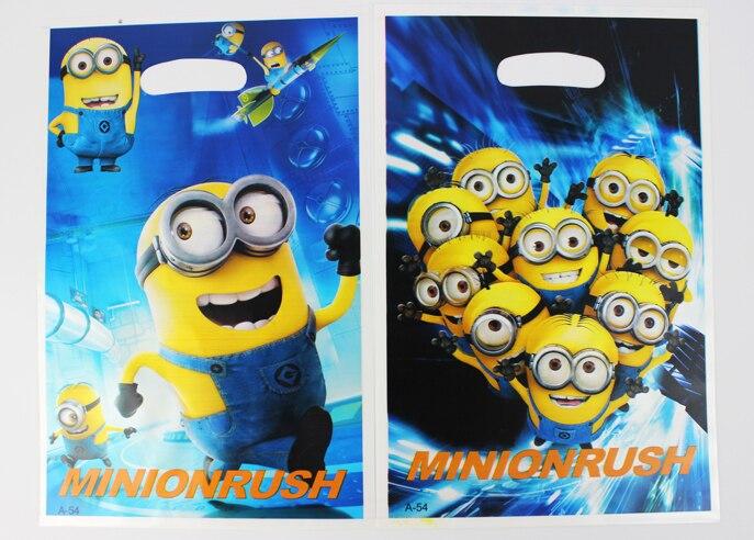 Free Shipping despicable me Me2 minion theme printing plastic candy bag,shopping gift bag*60pcs