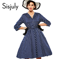 Sisjuly women vintage dress polka dot elegant party dress style 1950s rockabilly pin up dress vestido pleated vintage dresses