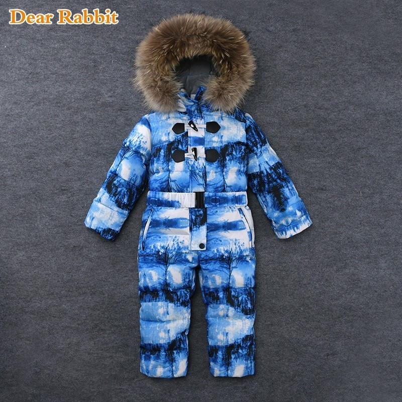 -30 Degree Outdoor Wear Kids Ski Suit Children Down Rompers parka real Fur Hood Warm Boys Girl clothes Winter Jumpsuits 2-7Years Одежда