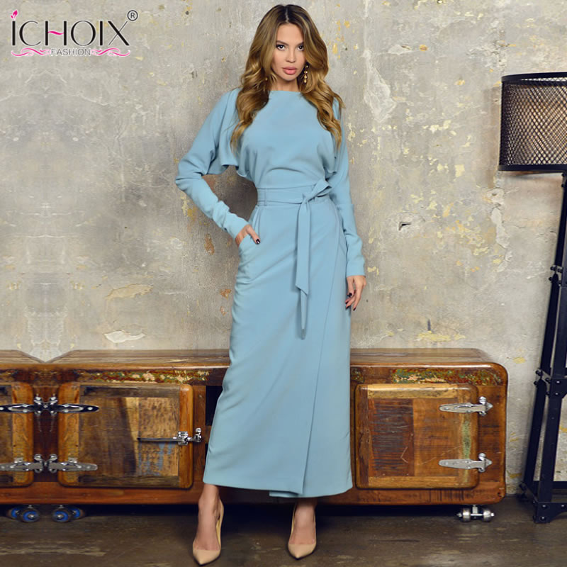 2019 Autumn Long Party Dress Women Winter Blue Women Office Dress Style Split Elegant Evening Female Bodycon Maxi Wrap Dresses