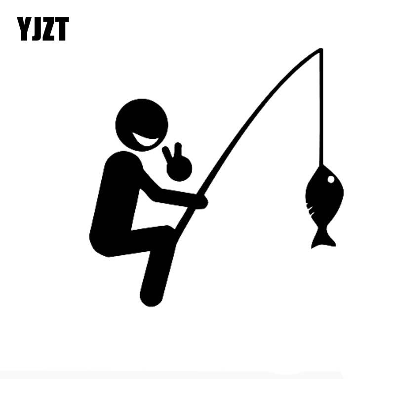 YJZT 15.2cm*15.5cm Cheerful Happy Fisherman Be Caught A FISH Fun Vinyl Car Sticker Decals Black Silver C11-0108