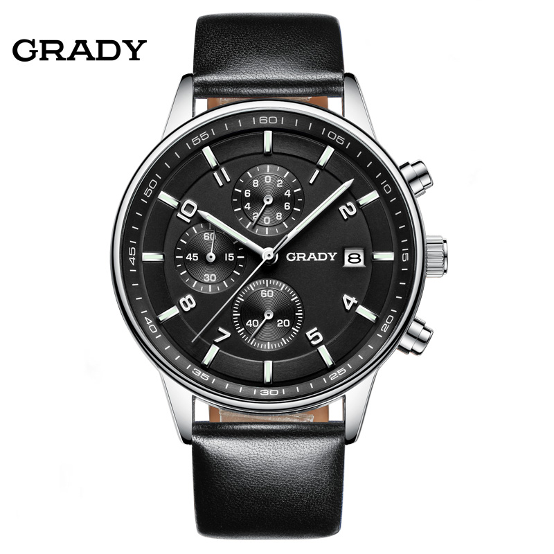 Brand GRADY Watch for World Cup men's watches chronograph quartz watch men real three dial luminous outdoor sports leather strap