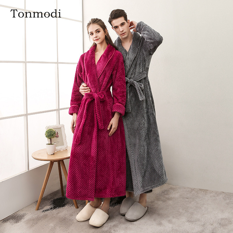 Nightgown Women Winter Robe Coral velvet Sleepwear Robe Women Men Couple s Long Robes Flannel